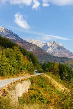 Road in the mountains, autumn in Montenegro