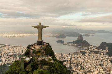 In de dag Rio de Janeiro Aerial view of Rio de Janeiro with Christ Redeemer statue
