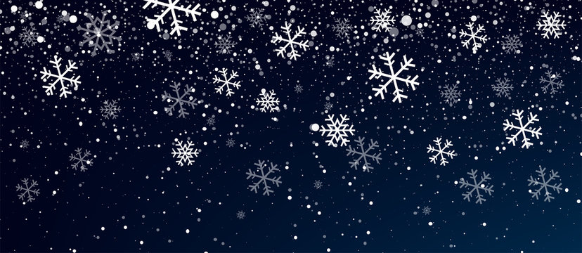 Snow. Realistic snow overlay background. Snowfall, snowflakes in different shapes and forms. Snowfall isolated on transparent background