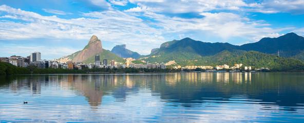 Foto op Canvas Rio de Janeiro Beautiful view of Rodrigo de Freitas Lagoon with Two Brothers Mountain and Gavea Stone in the background - Rio de Janeiro, Brazil