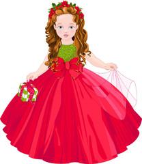 Foto op Aluminium Sprookjeswereld Cute Christmas Princess