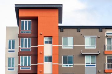 Fototapeta Exterior view of modern apartment building offering luxury rental units; Sunnyvale, San Francisco bay area, California obraz