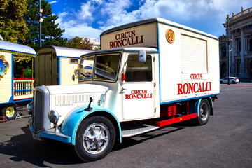Vehicle of Roncalli Circus near the town hall of Vienna