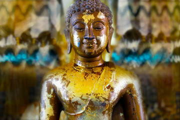 detail of statue of buddha, in buddhist temple