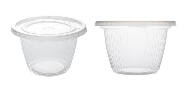 Transparent plastic bowl isolated on white background