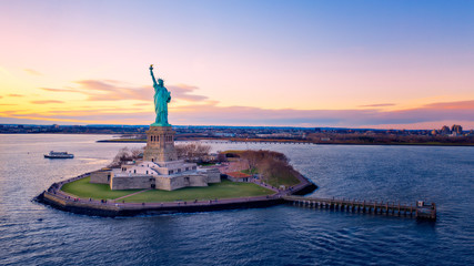 Aerial view of Liberty Statue at sunset