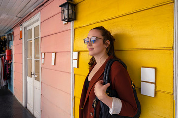 Young Attractive Caucasian Woman on Colourful Background at Caminito in Buenos Aires, Argentina