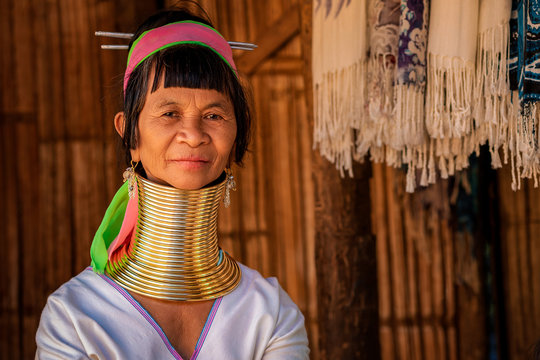 Chiang Rai Province, Thailand, Portrait of Karen Long Neck Woman at Hill Tribe Village