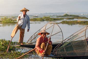 Intha Fishermen at Sunrise, Inle Lake, Myanmar (Burma)