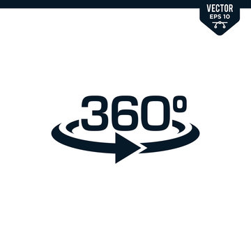 360 degree sign collection in glyph style