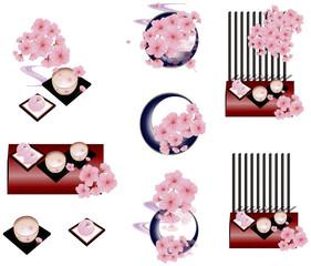 さくらの花やお茶と桜の和菓子のイラストセット
