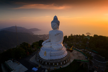 Keuken foto achterwand Boeddha Aerial photography of Big Buddha in Phuket island , Big Buddha is the one of landmarks in Phuket Thailand.