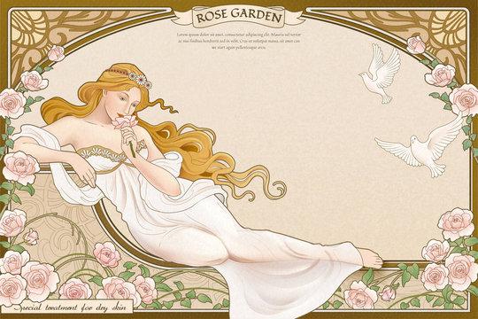 Elegant art nouveau style goddess