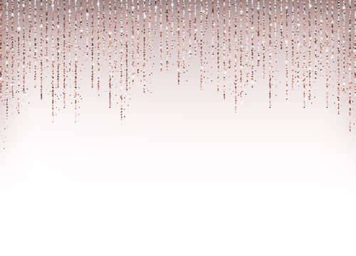 Luxury holiday background with rose gold glitter confetti.