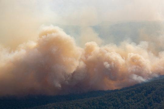 Australian bushfire massive smoke clouds aerial