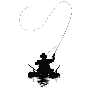 A vector image of a fly fisherman fishing out of a pontoon boat.
