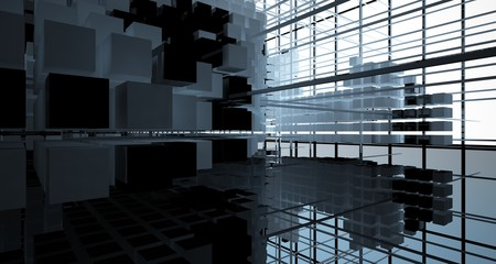 Abstract black  interior from array white and green cubes  with window. 3D illustration and rendering. Fotoväggar