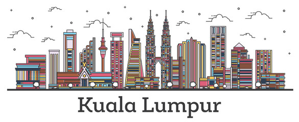 Outline Kuala Lumpur Malaysia City Skyline with Color Buildings Isolated on White.