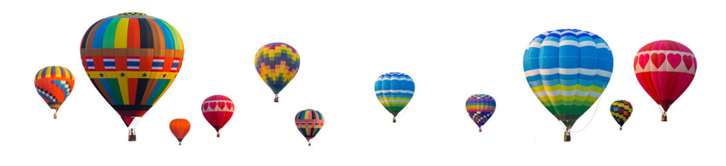Poster Ballon Colorful Hot Air Balloons isolated on white background