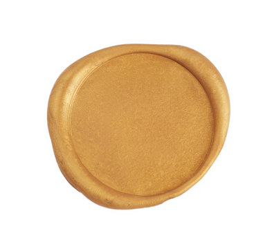 Gold wax seal isolated on white background. Empty stamp overview.