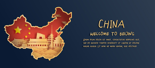 Fototapete - China flag and map with Beijing skyline, world famous landmarks in paper cut style vector illustration