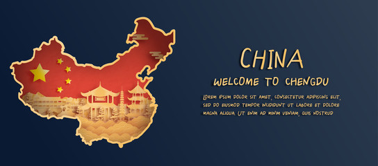 Wall Mural - China flag and map with Chengdu skyline, world famous landmarks in paper cut style vector illustration
