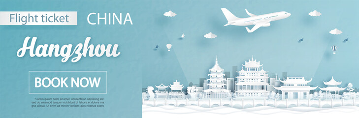 Fototapete - Flight and ticket advertising template with travel concept to Hangzhou, China and famous landmarks in paper cut style vector illustration