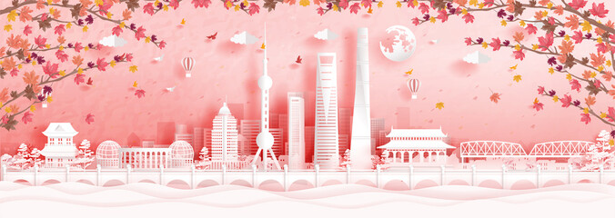Fototapete - Autumn in Shanghai, China with falling maple leaves and world famous landmarks in paper cut style vector illustration
