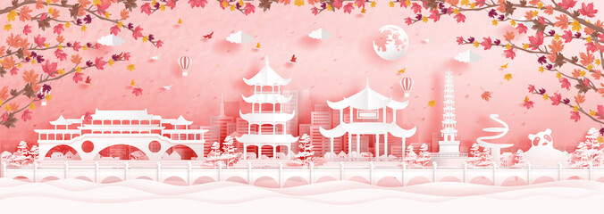 Fototapete - Autumn in Chengdu, China with falling maple leaves and world famous landmarks in paper cut style vector illustration