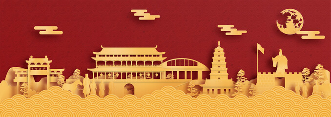 Fototapete - Panorama postcard and travel poster of world famous landmarks of Xian, China in paper cut style vector illustration