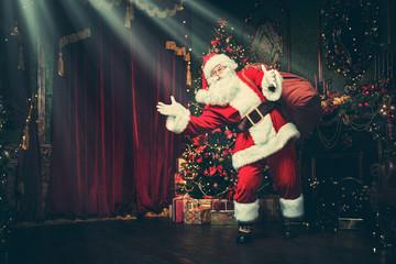 on stage Santa Claus
