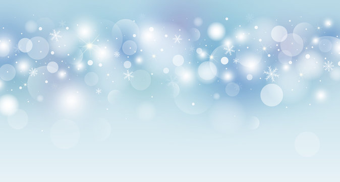 Christmas background concept design of white snowflake and bokeh light vector illustration