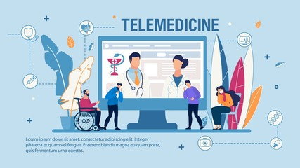 Telemedicine and Quality Medical Help Trendy Flat Banner. Vector Cartoon Sick Adult People with Flu, Infection, Disabled Young Man in Wheelchair Receive Doctor Consultation Online Illustration