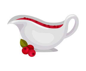 Gravy Boat With Cranberry Sauce Vector Illustration