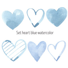 Watercolor Valentine blue pastel Heart Clipart Valentines day colorful pastel hearts, trendy, spring, love, wedding, romance,  hand painted set