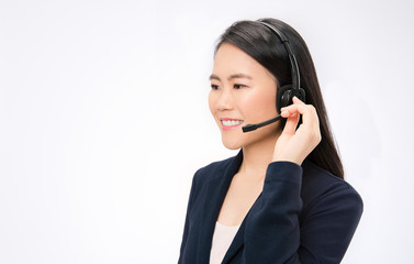 Portrait of asian woman customer support phone operator in headset with copyspace isolated on white background. Asian consulting and assistance service call center. Online shopping operator concept
