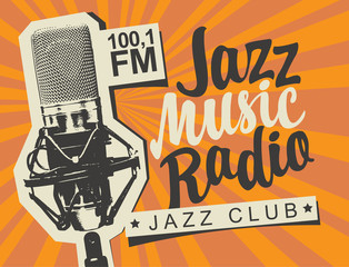 Vector banner for radio station with studio microphone and inscription Jazz music radio on the abstract background with rays. Radio broadcasting concept. Suitable for flyer, ad, poster, placard