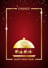 2020, New Year's Eve dinner, template for poster, cover and menu. Vector illustration on red background