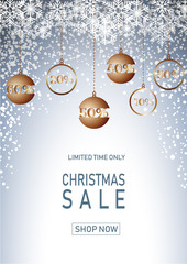 Christmas holiday sale on blue background with snow. Limited time only. Template for a banner, shopping, discount. Vector illustration for your design