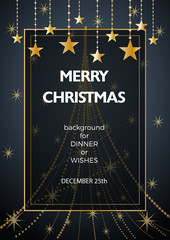 Christmas decorations with copy space in a frame and text on gray background for cover, invitation, dinner or greeting