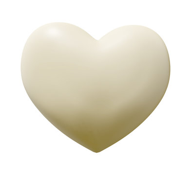 White Chocolate Heart with clipping path - 3D illustration