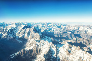 Andes Mountains (Cordillera de los Andes) viewed from an airplane window.