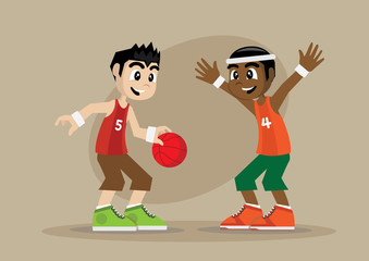 Boy playing basketball.