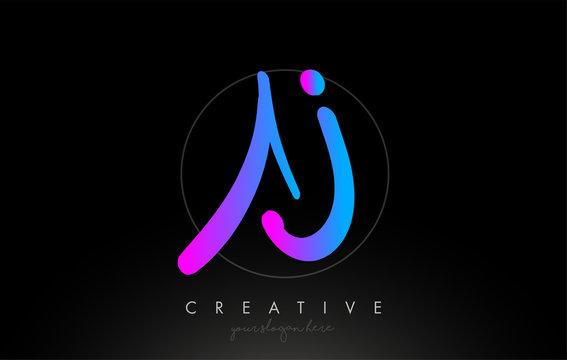 AJ Artistic Brush Letter Logo Handwritten in Purple Blue Colors Vector