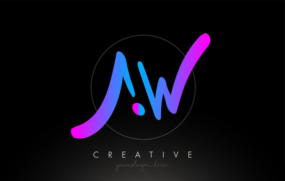 AW Artistic Brush Letter Logo Handwritten in Purple Blue Colors Vector