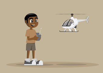 African Boy Playing a helicopter Toy with Remote-controlled.