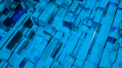 Blue transparent abstract three-dimensional angular background. 3d rendering illustration Wall mural