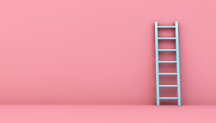 blue ladder on a pink wall