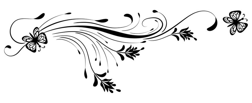 Decorative floral ornament with butterfly on white background