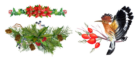 winter elements of a bird, pine, spruce, poddub, mistletoe, poinsettia wreath composition